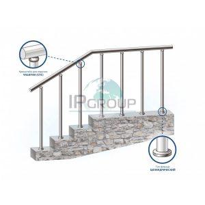 Перила для лестницы из металла (нержавейка) на стойках на каждую ступень