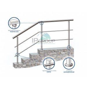 Перила для лестниц из нержавейки с 2 ригелями на ригеледержателях