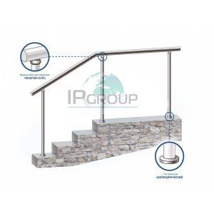 Перила из металла (нержавейки) на стойках через 2 ступени