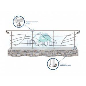 Красивые ограждения балконов из нержавеющей стали с дизайнерским наполнением ригелями номер 3