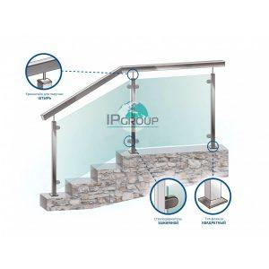 Нержавеющие перила для лестниц с поручнем из квадратного профиля с заполнением из закаленного стекла на стойках из квадратного профиля