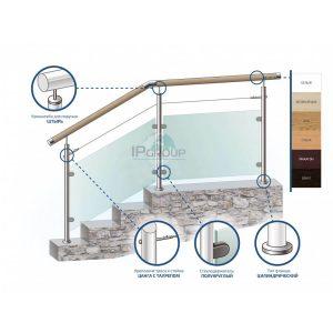 Перила и ограждения со стеклом для лестниц, с деревянным поручнем на стойках с наполнением из закаленного стекла и одного троса