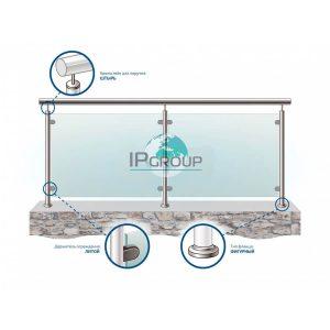 Перила со стеклом из нержавеющей стали с поручнем с заполнением из закаленного стекла на стойках