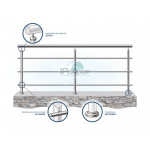 Ограждение балкона из нержавеющей стали с тремя ригелями на сварку