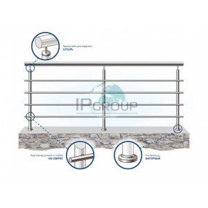Ограждения балконов лестниц из нержавеющей стали с четырьмя ригелями на сварку