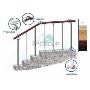Перила из нержавеющей стали, пластиковые поручни ПВХ (Винипласт) на стойках на каждую ступень