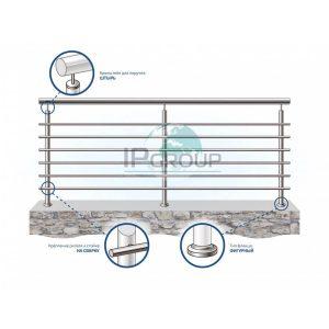 Ограждения балконов лестниц из нержавеющей стали с шестью ригелями на сварку