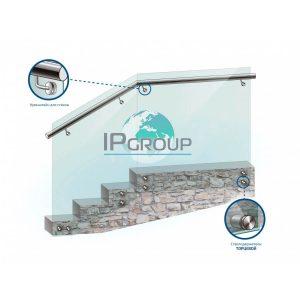 Перила со стеклом для лестниц с поручнем из нержавеющей стали, заполнение из закаленного стекла на стойках