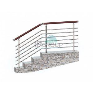 Перила из пвх (Винипласт) для лестниц из нержавеющей стали, с шестью ригелями на ригеледержателях