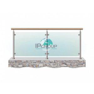 Ограждение со стеклом с деревянным поручнем с заполнением из закаленного стекла на стойках