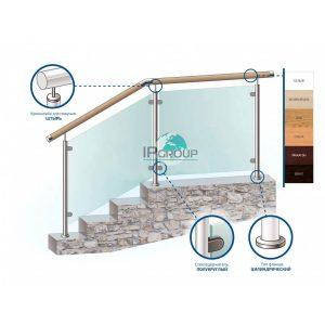 Перила для лестницы из нержавейки с деревянным поручнем с заполнением из закаленного стекла на стойках