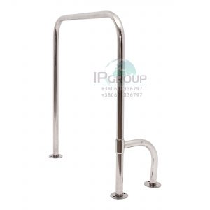 Поручень напольный для инвалидов  П-образный с поворотной опорой 800*700мм, ручка ∅32 мм, нержавеющая сталь.