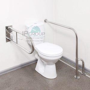 Поручень угловой для инвалидов усиленный стена-пол (универсальный), ручка ∅32 мм, нержавеющая сталь.