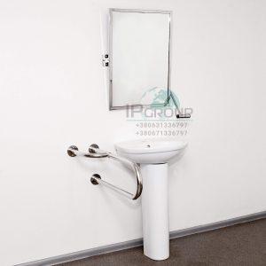 Поручни для туалета, настенные, опорные с дополнительной ножкой (универсальный), ручка ∅32 мм, нержавеющая сталь.