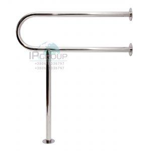 Стационарные поручни для инвалидов в туалет стена — пол, ручка ∅32 мм, нержавеющая сталь.