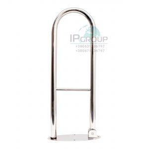 Поручни для унитаза настенные, откидные, овальный фланец, ручка ∅32 мм, нержавеющая сталь.