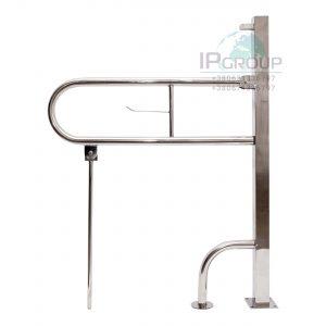 Поручень для инвалидов откидной напольный усиленный с дополнительной опорой, ручка ∅32 мм, нержавеющая сталь.